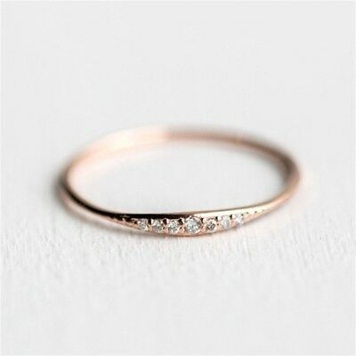 Simple Cubic Zirconia Wedding Rings Rose Gold Silver Color Jewelry