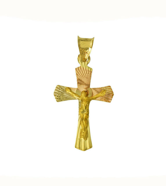 14K Tri Color Gold Diamond Cut Jesus Crucifix Stamp Charm Pendant with 2mm Figaro 3+1 Chain Necklace