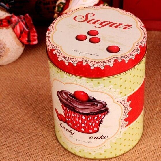 Retro Style Red Yellow Cake Kitchen Coffee Tea Sugar Container Jar Tin Metal