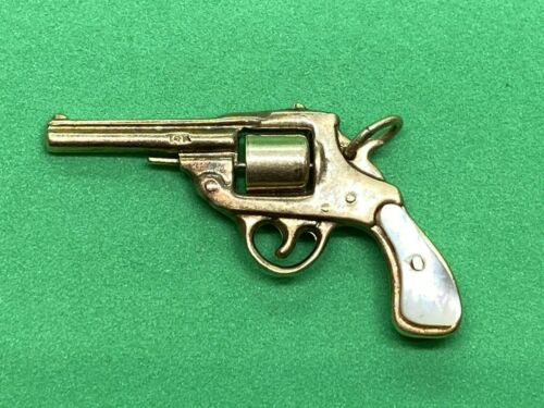 14K Yellow Gold Colt 45 Revolver Gun with Mother o