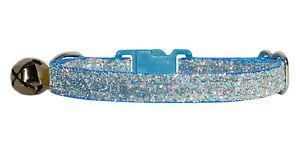 Tela-Azul-Claro-SPARKLE-Gatito-seguridad-Collar-12-7-cm-17-8-cm-Cascabel