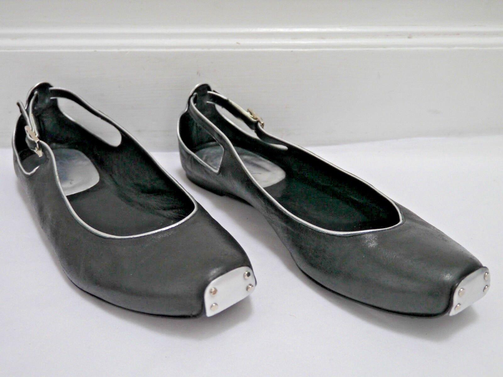 TASHKENT by CHEYENNE black leather ballet flats with silver trim Italian size 40