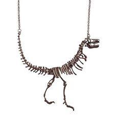Gothic Steampunk Fantasy Dinosaur Pendant Chain NECKLACE T-Rex Skeleton Hematite