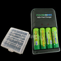 4 x Nizn NI-ZN 1.6V 2500mWh AA Battery + AAA Rechargeable Charger White +1 Case