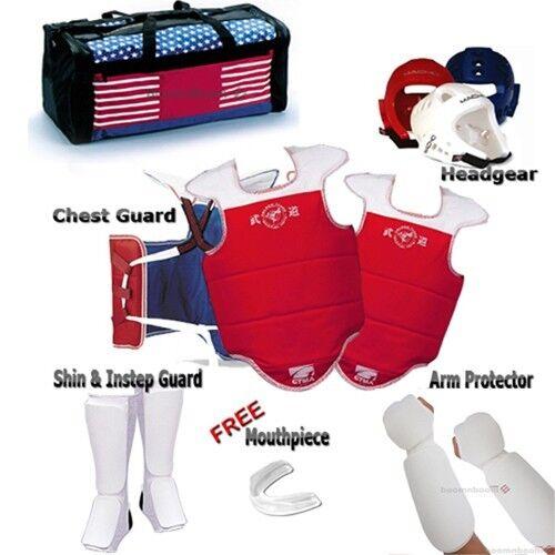 NEW Taekwondo Sparring Gear Full Set Karate Predector Guard Hogu set with a Bag