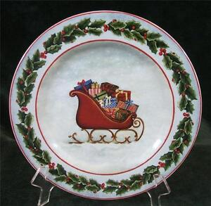 Image is loading DAVID-CARTER-BROWN-DECK-THE-HALLS-SLEIGH-SALAD- & DAVID CARTER BROWN - DECK THE HALLS - SLEIGH - SALAD PLATE - 8.25 ...