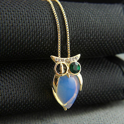 18k Gold GF Swarovski crystals night owl pendant necklace
