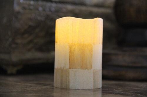 Flameless Vanilla LED Pillar Votive Candle made w//Mackenzie-Childs Parchment Ck