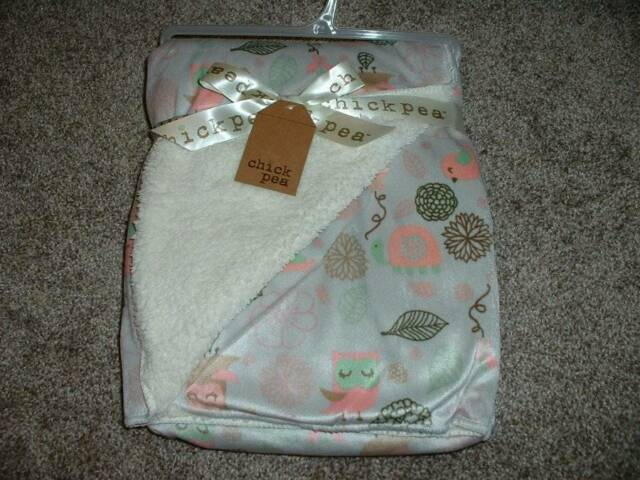 Chick Pea Owl Blanket Baby Girls Infant NWT NEW Gray Sherpa Pink Bird Soft