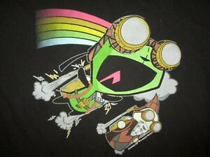 INVADER-ZIM-T-SHIRT-Alien-Astronaut-GIR-Rainbow-Jetpack-Hurling-Thru-Space-LARGE