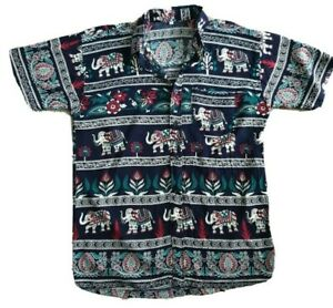 Men-039-s-Summer-Elephant-Print-Short-Sleeve-Shirt-Size-S