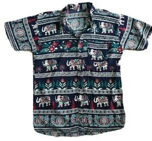 Men-039-s-Summer-Elephant-Print-Short-Sleeve-Shirt-Size-S