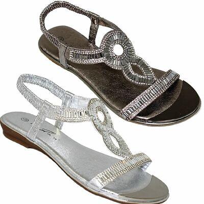 JLH913 Comet Padded Insole Slip On Gold Plate T Bar Gemstone Sandals Shoes