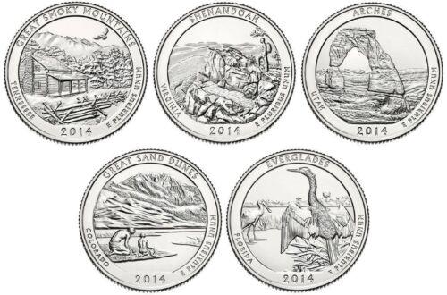 BIN 10 Coins 2014 America The Beautiful BU P/&D Set