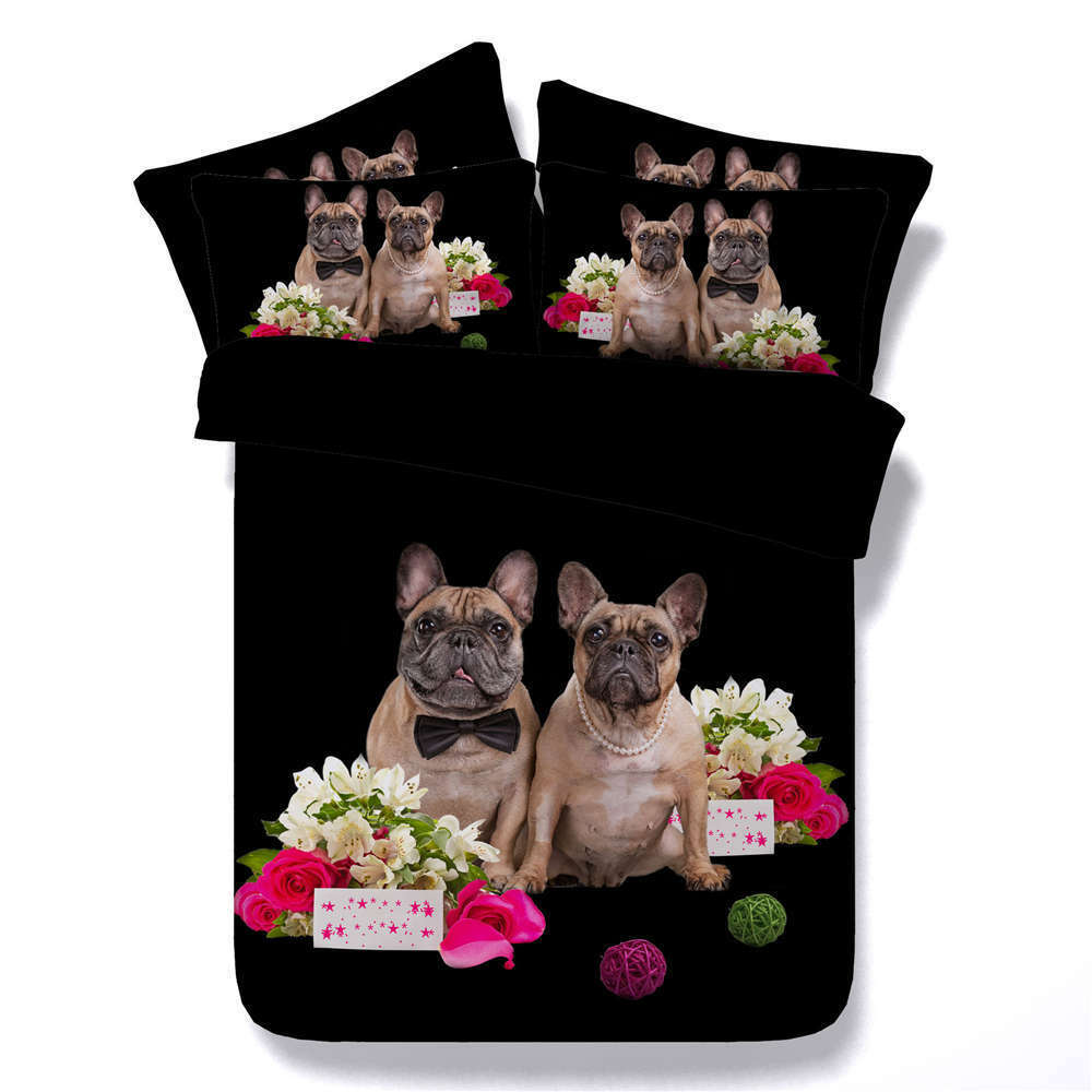 Pug Two Flowers 3D Printing Duvet Quilt Doona Covers Pillow Case Bedding Sets