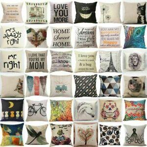Home-Sofa-Almohada-Decorativa-Algodon-Lino-Funda-Cubierta-Cojin-de-tiro-Cintura-Cama-de-coche
