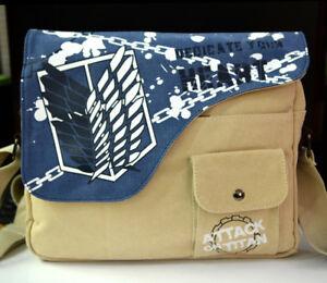 Attack On Titan Canvas Shoulder Messenger Bag School Satchel Crossbody Backpack