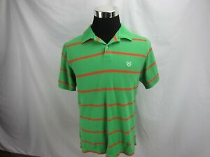 Chaps-Men-039-s-Polo-Shirt-Short-Sleeve-green-orange-striped-sz-large