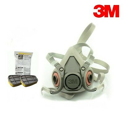 3M 6200 Half Mask Respirator w/6003 Organic Vapor/Acid Gas Cartridges Pack NEW