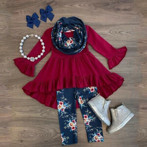 Toddler-Kids-Baby-Girls-Floral-Long-Sleeve-Tops-Dress-Long-Pants-Outfits-Clothes