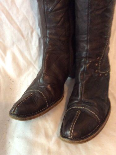 39 Stivali al donna pelle da marrone ginocchio in taglia rfOwr8q