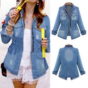 Plus-Size-Fashion-Women-039-s-Jeans-Denim-Jacket-Long-Sleeve-Trench-Coat-Outerwear