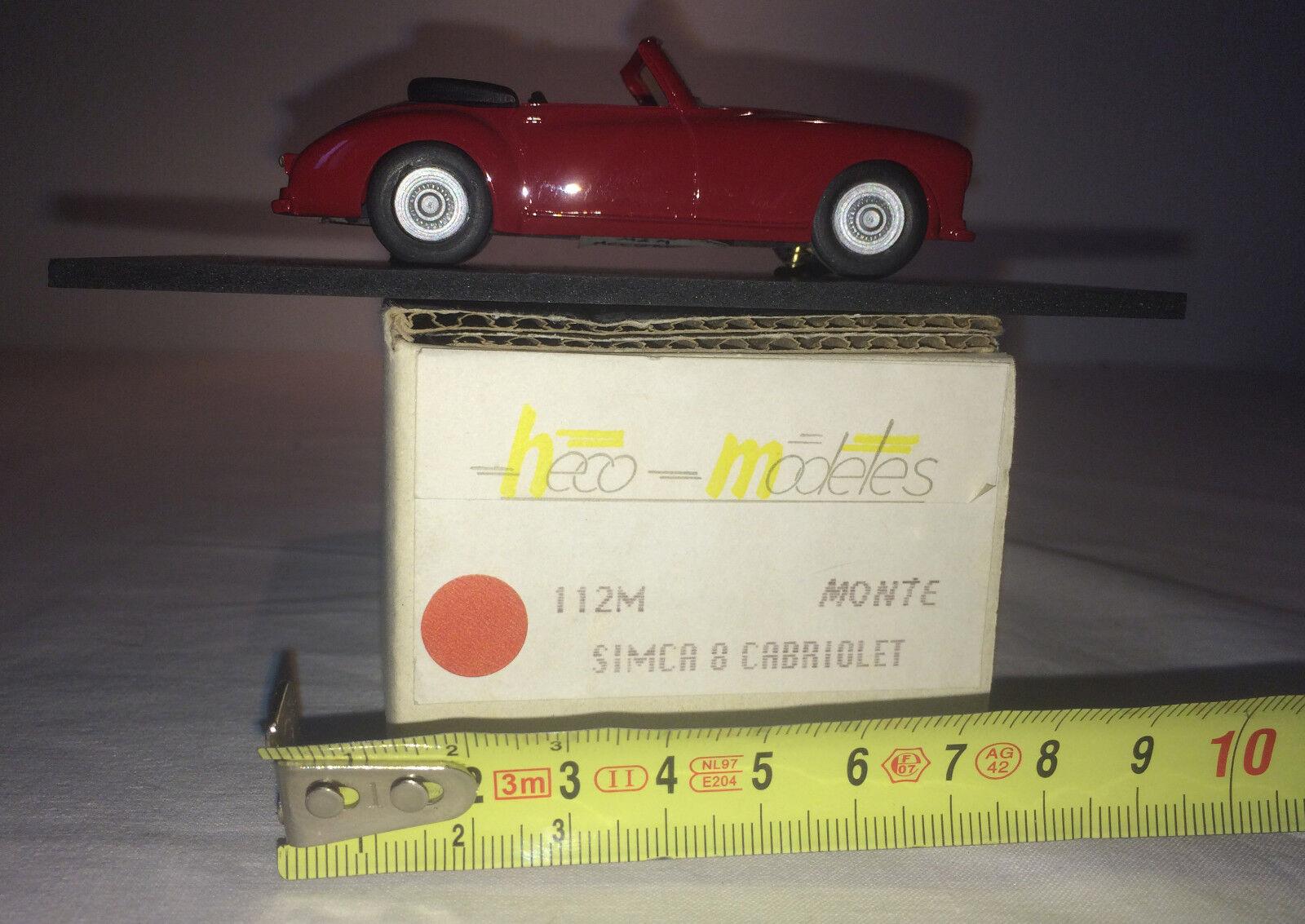 Heco Modeles Simca 8 Cabriolet monté d'origine réf 112M 1/43 résine
