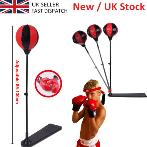 Adjustable Punching Ball Bag Boxing Stand Sports Set with Gloves Pump Adult//Kids