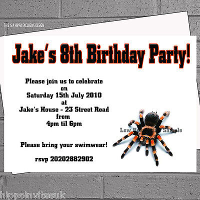 Birthday Party Invitations Spider Tarantula Children Boys Kids x 12 envs H0651