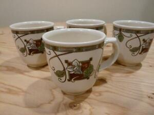 34f1c2ad028 Details about Pfaltzgraff Mission Flower Lot of Four Coffee Mugs Excellent
