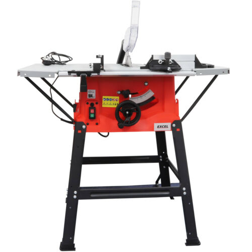 """Excel 1800w 10/"""" 250mm Bench Table Saw with Legstand Side Extensions /& Blade 240v"""