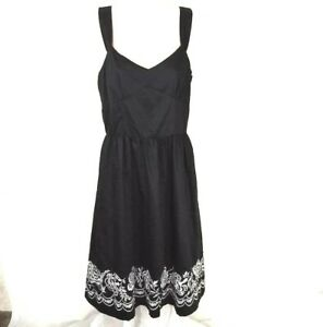 Ann-Taylor-Loft-A-line-Dress-Women-Size-6P-Black-Knee-Length-Cotton-Full-Skirt