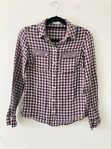 Whistles-Red-White-Gingham-Check-Cotton-Wool-Shirt-Size-10-A0127
