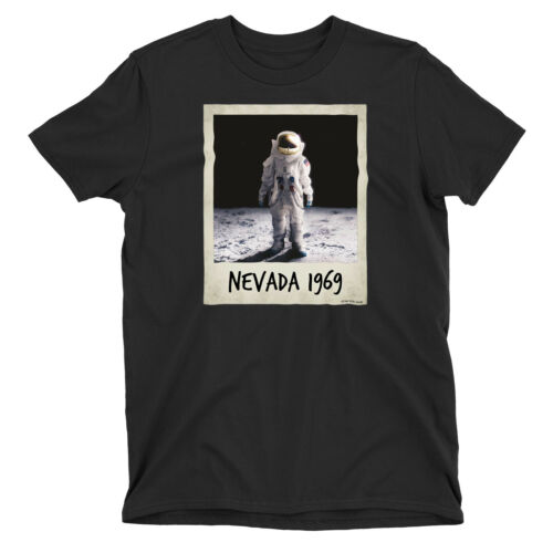 Ladies T-Shirt MAN ON THE MOON POLAROID Nevada 1969 Astronaut Space Theory