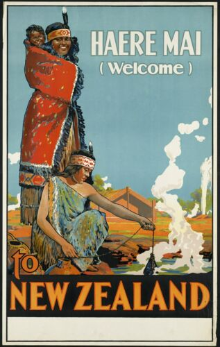 A3/A4 size - Vintage New Zealand Welcome Travel Poster  #3