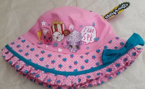SHOPKINS Licensed bucket hat pink bow NEW sizes 51cm 53cm ages 1-3 3-5 years