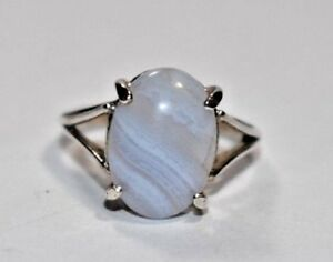 Stunning Lace Agate in 14k Gold Over Silver Band Handcrafted Women Stacking Ring