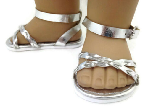 """Silver Braided Sandal Shoes made for 18/"""" American Girl Doll Clothes"""