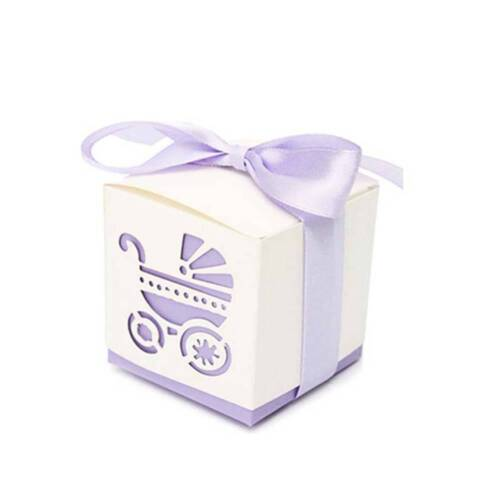 10pcs Party Gift Baby Shower Candy Boxs Ribbon Carriage Shape Favor Wedding Box