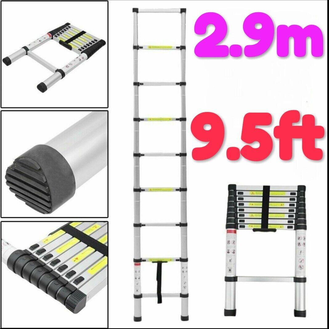 2.9m New Multi-Purpose Aluminium Telescopic Ladder Extension Extendable Builders