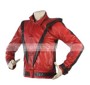 finest selection 17137 9c429 Dettagli su Thriller Michael Jackson da Uomo Vero Giacca di pelle da  Motociclista