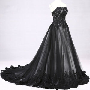 Black White Wedding Dress Victorian Gothic Lace Bridal Gown Custom Size 4 28 Ebay
