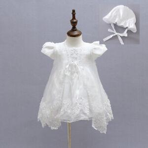 Details Zu Elfenbein Perlen Taufe Kleidung Baby Stickerei Kleid Taufe Kleid Mit Kappe