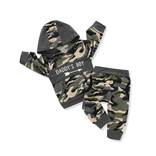 ️Newborn Baby Boys Camouflage Hooded Tops+Pants Tracksuit Outfits Set Clothes