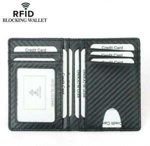 Mens Minimalist Slim Carbon Fiber Credit Card Holder Wallet RFID Blocking New