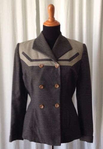 Vintage Marjorie Grant 40's Gray Color block Women