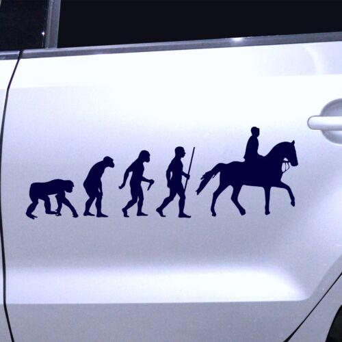 Autoaufkleber Sticker Autofolie Aufkleber Evolution Pferde Reiter Reiten Galopp