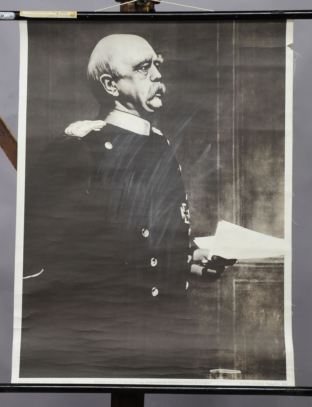 Vintage poster rollable wall chart history Bismarck Reichstag portrait