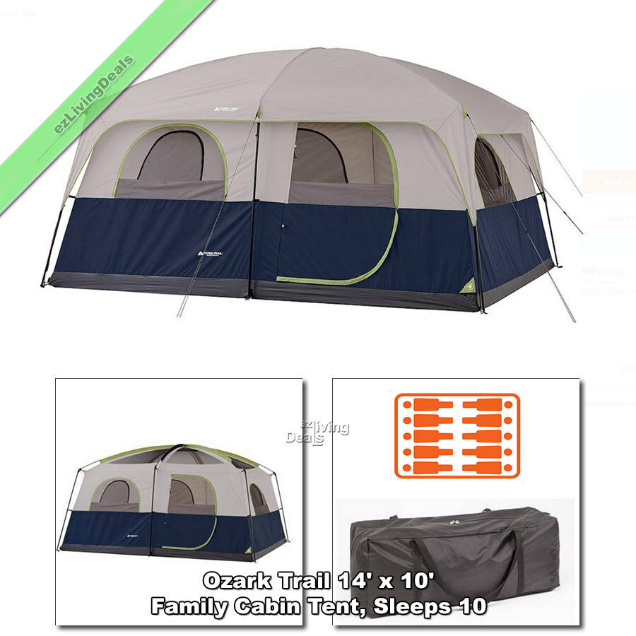 Ozark Trail 10person Family Tent 2 Room 14'x10' Outdoor Camping Cabin Tents