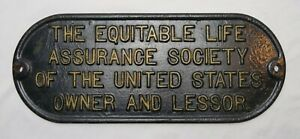 Antique-Heavy-Cast-Iron-Sign-Plaque-Equitable-Life-Assurance-Society-Advertising